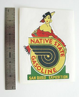 Luggage Labels - Travel Stickers    NATIVE STATE GASOLINE - SAN DIEGO EXPOSITION