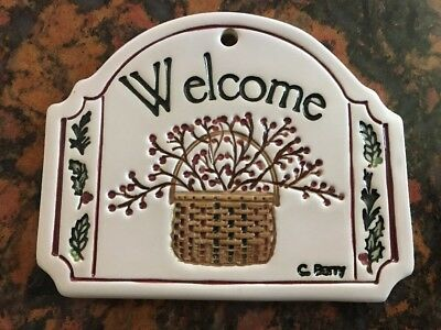Longaberger Homestead Exclusive Carol Berry Winter / Basket Welcome Sign Plaque