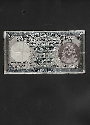 National Bank of Egypt One Pound Note Dated March 1942