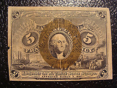Nice 1863 Five Cent 2nd Issue Fractional Currency WE COMBINE ON SHIPPING