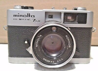 Minolta Hi-Matic 7S II Camera f=40mm 1:17 Rokkor Lens Untested