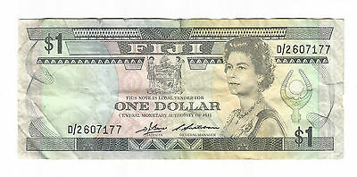 1983 Fiji old $1 dollar paper note QEII Barnes / Siwatiban signatories