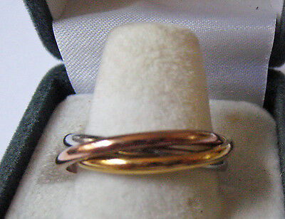 White Yellow Rose Tri-gold Overlay Russian Wedding Ring US Size 5 = AUS Size J½