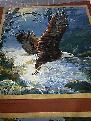 "Soaring Eagle Ready to Land  Cushion Panel approx 16x16"" Quilting Cotton Fabric"