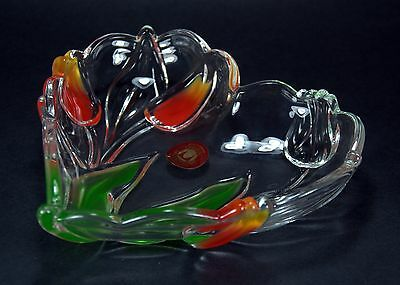 Walther Glas Heart-Shaped Crystal Glass Dish Tulip Pattern Coloured from Germany
