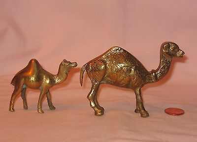Brass Casting Figures Of A Camel And A Baby