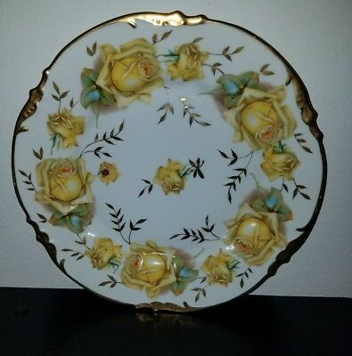 ES Prussia Handpainted Yellow Roses Plate with Gold Trim