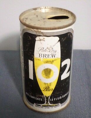 Vtg Pale Dry Brew 102 Juice Tab Maier Brewing Straight Steel Beer Can GB