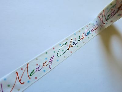 10m Merry Christmas Script Washi Tape ** Christmas Gift Wrapping Tape