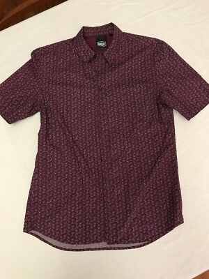 Indie Kids Boys Short Sleeve Shirt 14 Dark Purple With Pattern