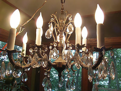Vintage 10 Light Brass Chandelier With Crystals