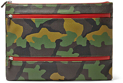 BRAND NEW Fossil Triple Zip Leather Pouch Camouflage RRP$99.00