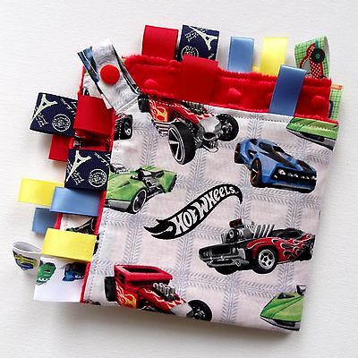 LARGE Size Hot Wheels cars Taggie Blanket Toy comforter dummy clip holder