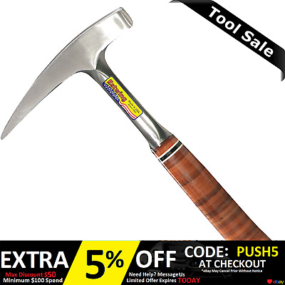 """Estwing 12.5"""" 22OZ Pointed Tip Rock Pick Hammer Leather Grip  E30"""