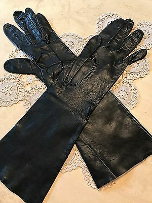 Vintage Black Leather Long Gloves, 6 1/2, Great Condition, Soft Leather