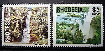 Rhodesia Water Falls $1 & $2 Fine Mint Stamps