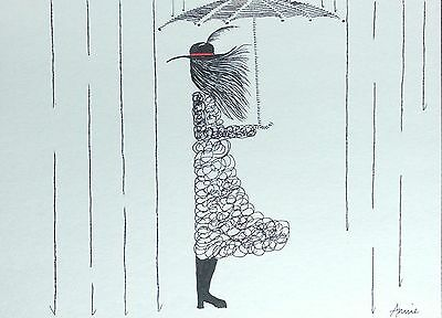 original impressionist ink line-drawing art picture - drawing A4 size