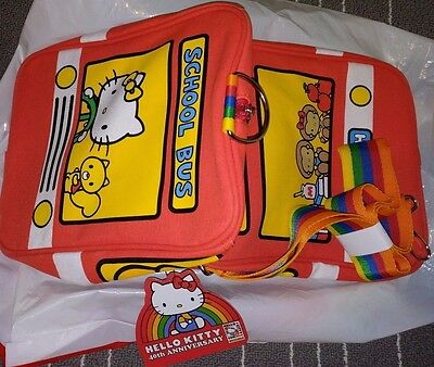 Hello Kitty 40th Anniversary Red School bus duffle gym bag with rainbow strap