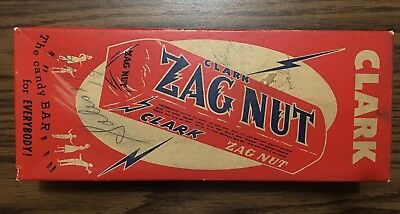 Vintage 1950's Clark Zag Nut Candy Bar Box-Mfg. by D.L. Clark-Pittsburgh, PA