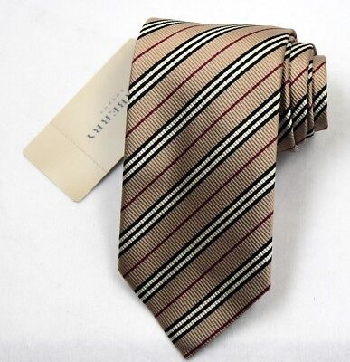 """NEW Burberry BROWN Stripes Mans 100% Silk Tie Authentic Italy Made 3.5"""" 035041"""