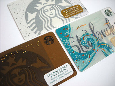 Starbucks Gift Card Mermaid Siren Logo Tail Snow Braille 3 Cards Lot Limited New