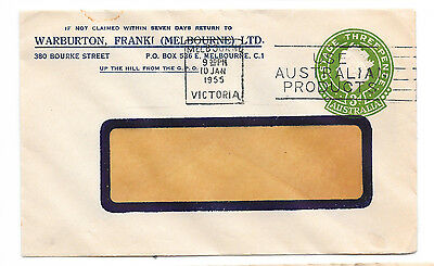 Australia QE2 3d Green Embossed PTPO advertising cover