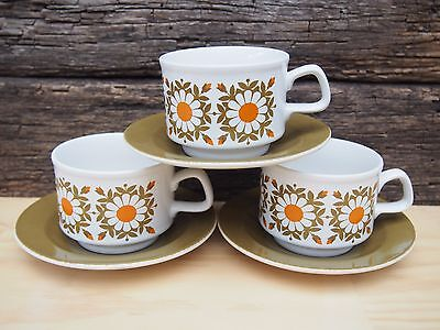 Staffordshire Potteries Small Mugs with Saucers - Set of 3 - Made in England