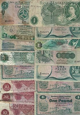 Lot of 15 Old UK England Banknotes One Pound 10 Shillings