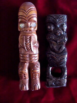 Tiki - New Zealand Wooden Tiki With Paua Shell Eyes X 2
