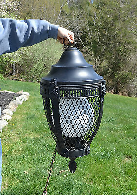 Vintage Gothic Style Heavy Black Metal Chandelier Hanging Light Fixture