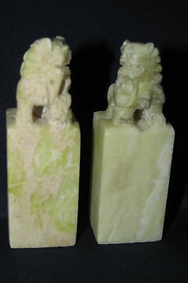 Vintage Asian Chinese 2x. Foo Fo LIONS DOGS Fen SHui  Shoushan Stone 7.5CmT