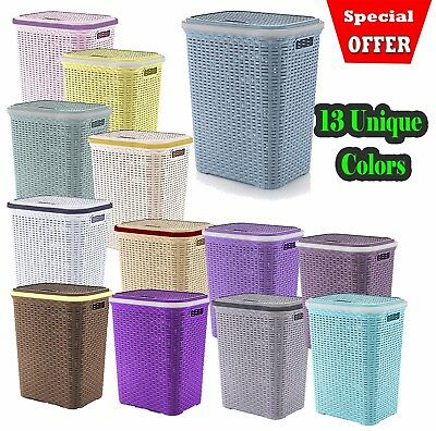 Plastic Laundry Basket Large Washing Clothes Bin Rattan Style with Handles / Lid