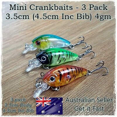 3 Bream & Trout Fishing Lures Redfin, Perch, Flathead Yellowbelly, Whiting Lures