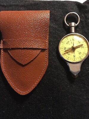Vintage Compass Germany Map Reader Cm To Km & Inches To Miles In Leather Case