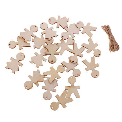 20pcs Wood Tags Unfinished Plain Wood People Shaped Cutout Craft with String