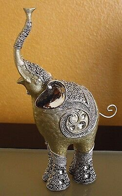 Elephant BodyShimmering Mirror Accent Collectible with Rhinestone Accents