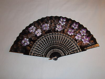 "Black Purple Gold Hand Painted Silk Folding Fan 17"" Open EUC"