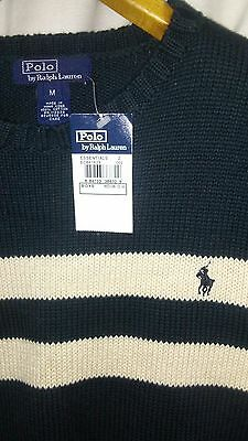 Polo Ralph Lauren Boys Medium 12-14 cable Knit Striped Sweater Cotton Crew NWT