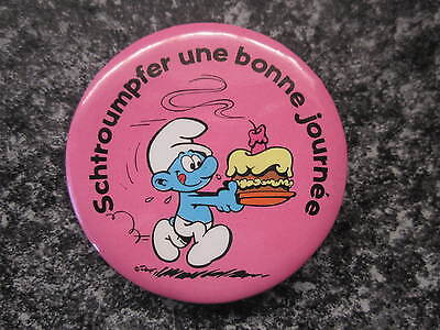 Smurf Badge or Button with clip Birthday Smurf vintage rare