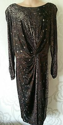 M&S Autograph Brown Mix Long Sleeve Lined Dress Size 18