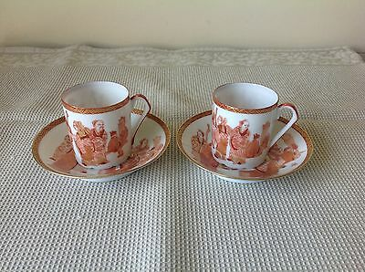 2 Sets of Early To Mid 20th C Japanese Kutani Eggshell Coffee Cup & Saucer