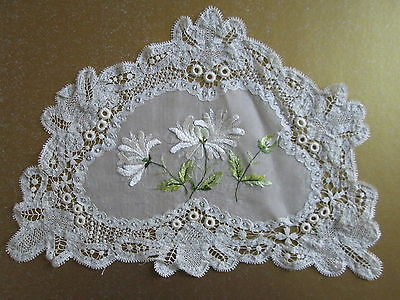 ANTIQUE BRUSSELS TAPE LACE DOILY Victorian Society Embroidered Flowers Handmade
