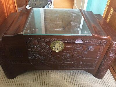 Beautiful Oriental Heavily Hand Caved Carved Camphor Rose Wood Chest With Glass