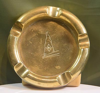 A Vintage Cast Brass Ashtray With Ships Penant