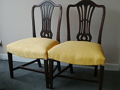 Georgian upholstered sprung dining chairs x2