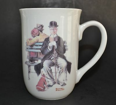 Norman Rockwell cup/mug:  PMC, Overheard Lovers, man setting on park bench
