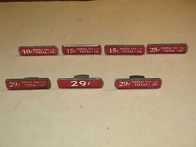 vintage METAL HANGING PRICE TAGS WITH TAX ON THEM ~LOT OF SEVEN~