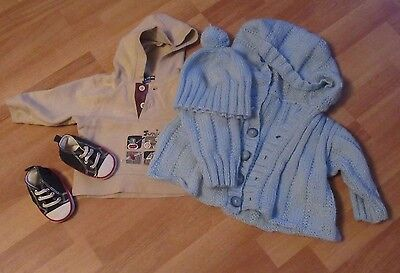 0-3 months clothes baby boy knitted cardigan & hat hoodie & soft trainer boots