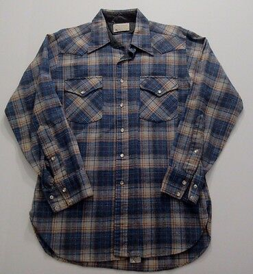 Vtg Pendleton Shirt High Grade Western Wear Wool Plaid M Pearl Snaps Rockabilly