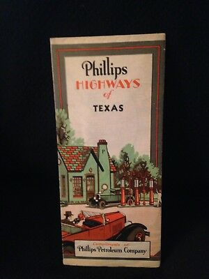 1932 Phillips Petroleum Oil Company Road Map Of Texas HTF